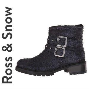 NEW ROSS & SNOW Stepana Studded MOTO BOOTs Black